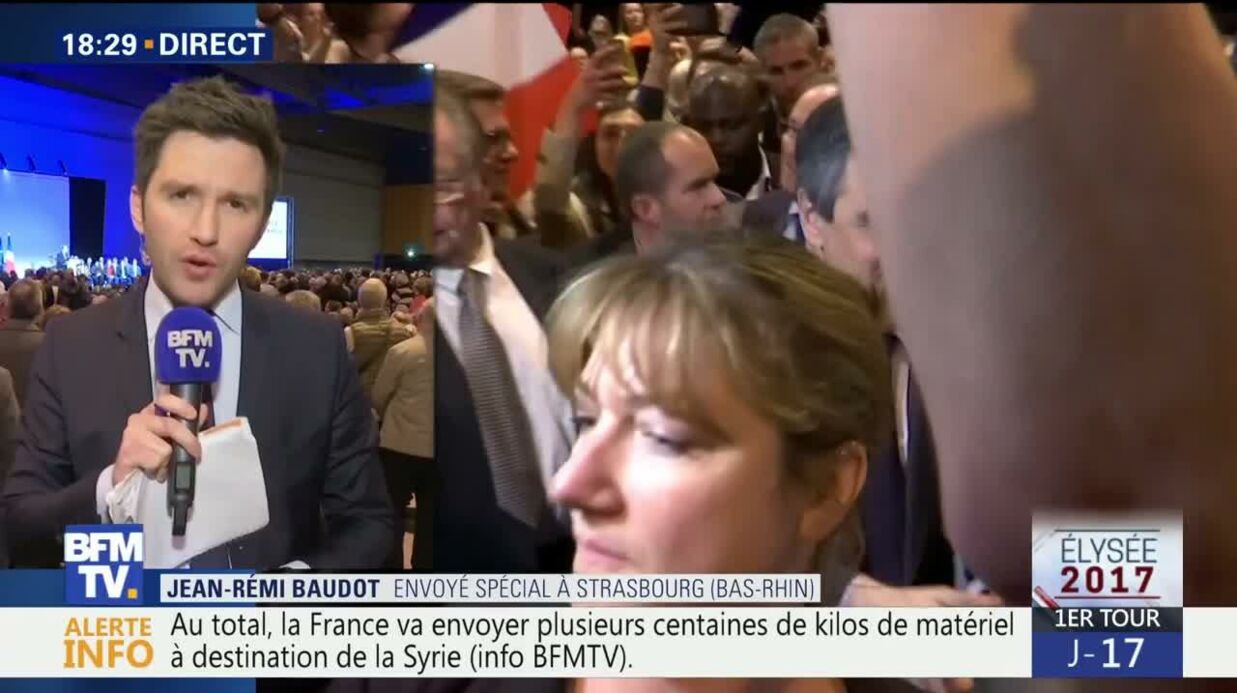VIDEO François Fillon enfa­riné en plein meeting à Stras­bourg