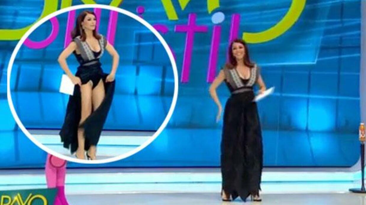 VIDEO Sentant une bête sous sa robe, une animatrice panique et dévoile sa culotte