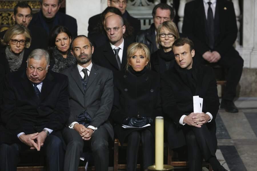 Hommage à Johnny Hallyday: Gérard Larcher, Edouard Philippe, Brigitte et Emmanuel Macron
