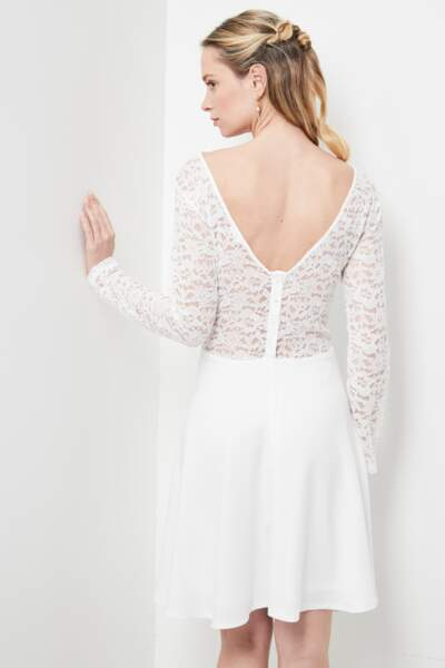 Robe blanche manches longues (dos). Collection IRL by showroomprive.com, 45 €