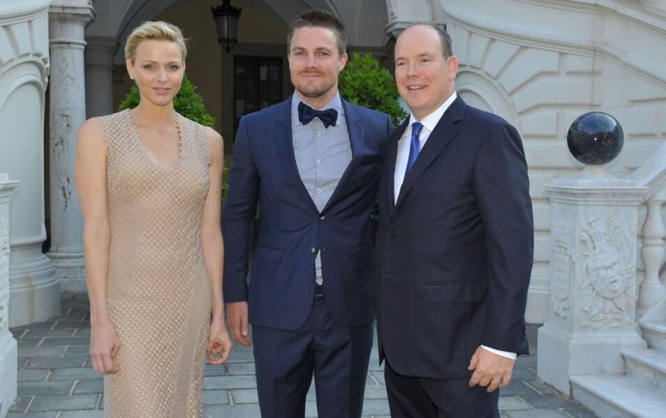 La Princesse Charlène, Stephen Amell et le Prince Albert