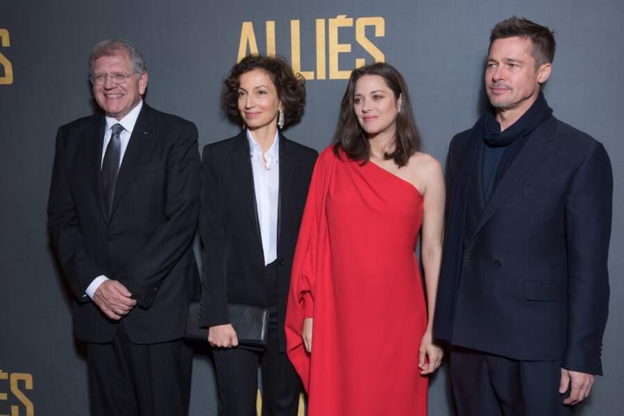 Robert Zemeckis, Audrey Azoulay, Marion Cotillard et Brad Pitt