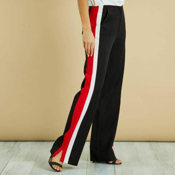 Pantalon large bandes bicolores, Kiabi, 25 euros