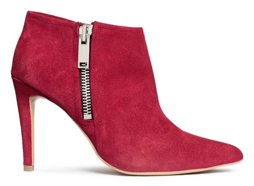 Low boots zippées rouges, H&M, 99€