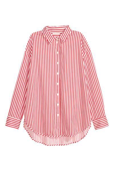 Chemise en coton à rayures, H&M, 9,99 euros au lieu de 19,99 euros