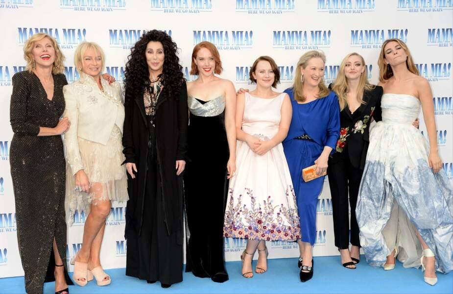 Le casting de Mamma Mia 2, à l'avant-première londonienne le 16 juillet