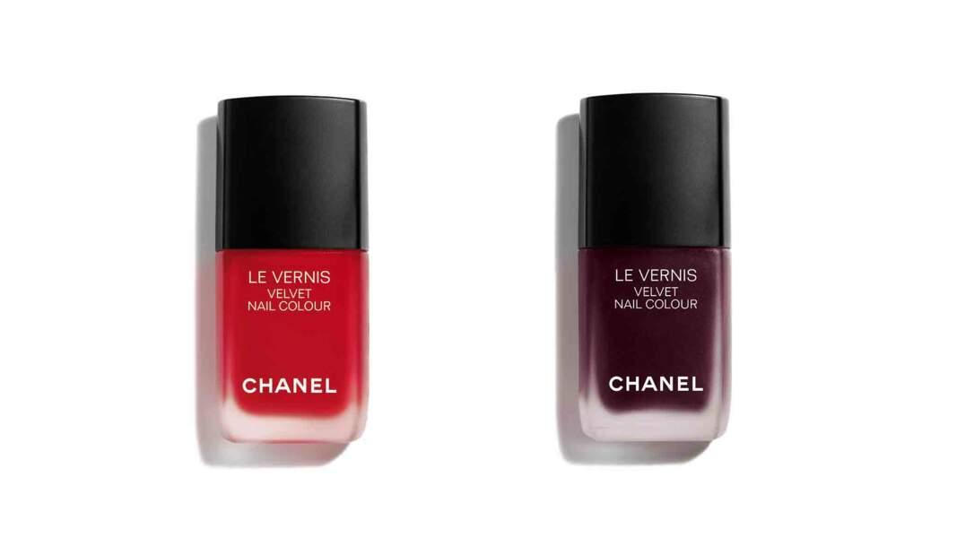 Vernis Velvet « Ultime » et « Profondeur », 25 € l'un Chanel