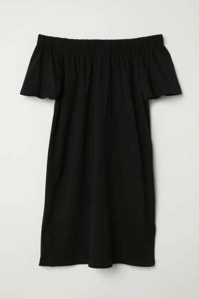 Robe noire épaules nues, H&M, 8,99 euros au lieu de 14,99 euros
