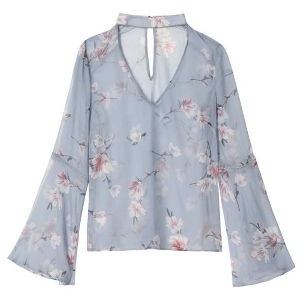 Caroline Receveur x Morgan : blouse imprimé fleuri à col choker, 60 euros