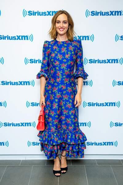 Leighton Meester et sa robe bleu à l'imprimé fleuri