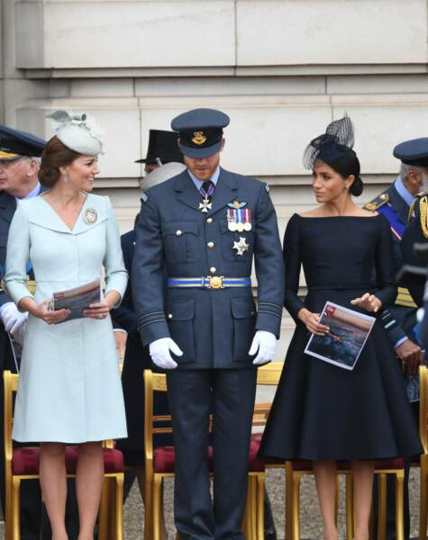 Kate Middleton, le prince Harry et Meghan Markle au centenaire de la Royal Air Force, à Londres