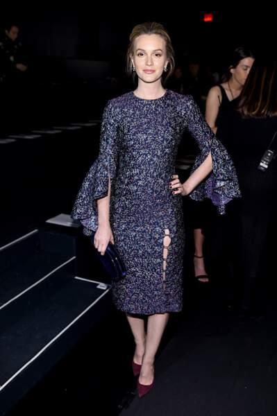 Leighton Meester avec une robe imprimée à fleurs plutôt classique