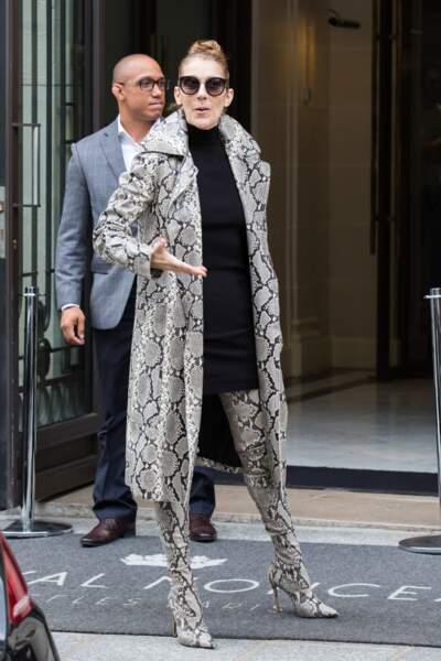 Céline Dion continue sa révolution avec un étonnant look manteau ET cuissardes 100 % serpent