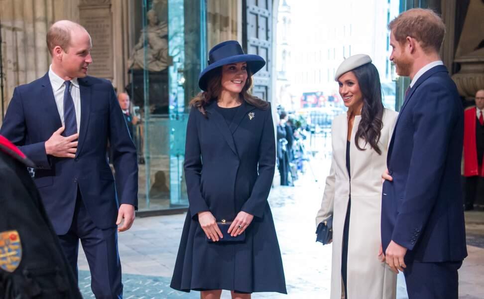 Le prince William, Kate Middleton, le prince Harry et Meghan Markle