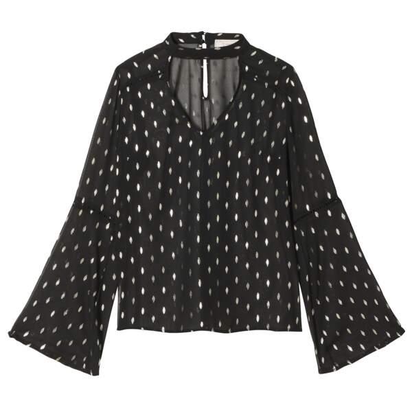 Caroline Receveur x Morgan : blouse en crêpe à col choker, 55 euros