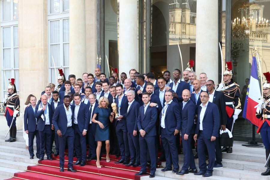 Les Bleus à l'Elysée après leur victoire en coupe du monde ce lundi 16 juillet 2018