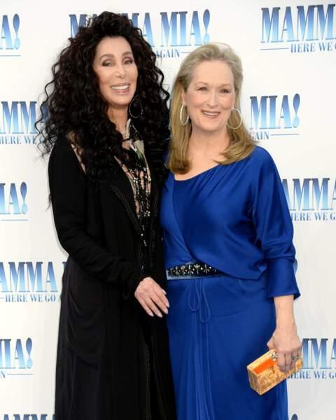 Meryl Streep et Cher à l'avant-première de Mamma Mia 2 à Londres, le 16 juillet