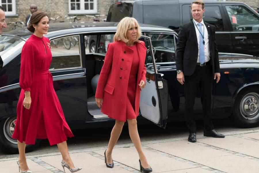 Emmanuel et Brigitte Macron en visite au Danemark, le 28 août 2018