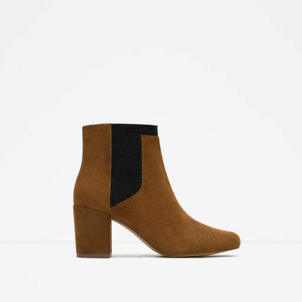 Boots camel et noires, Zara, 39,95€