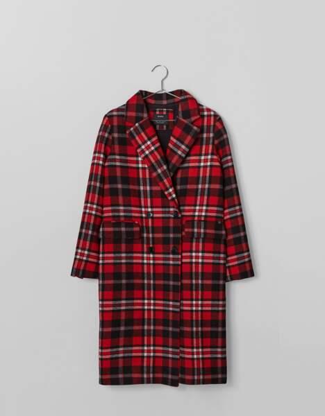 Manteau à carreaux rouges, Bershka, 69,99€