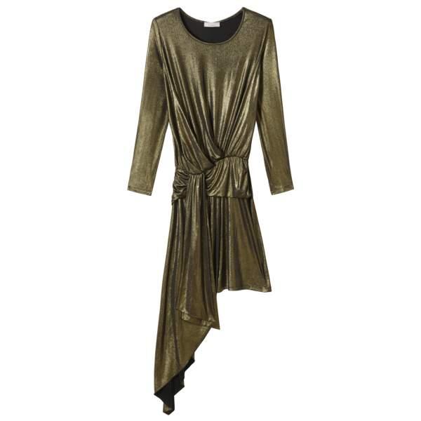 Caroline Receveur x Morgan : robe asymétrique drapée effet lamé, 90 euros