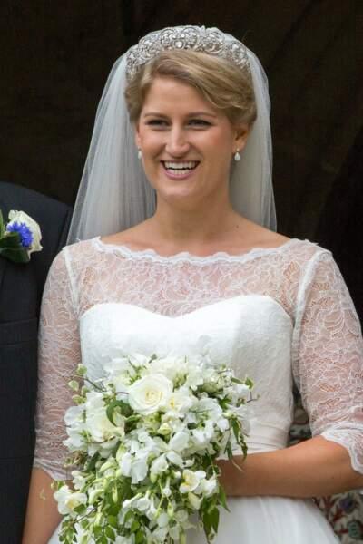 Mariage de Celia McCorquodale et George Woodhouse : la mariée porte le diadème de Lady Di