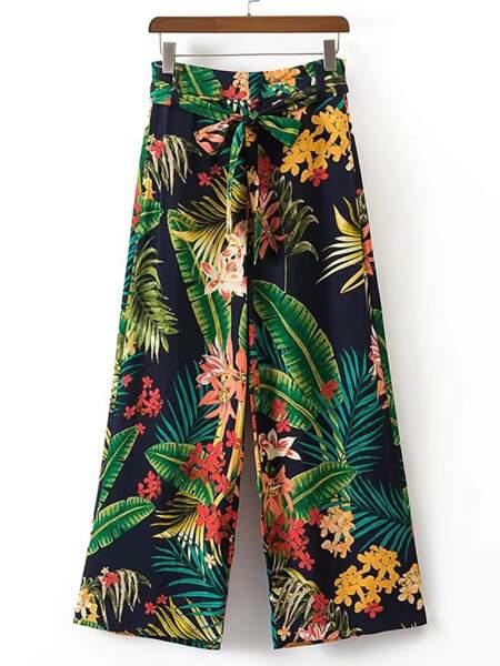 Pantalons Large Imprimé Tropical, Romwe, 13,07 euros