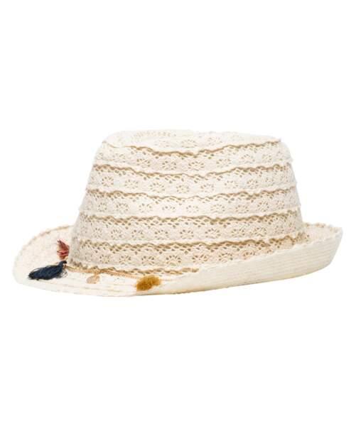 Chapeau Trilby en crochet avec breloques, Gémo, 10,99€