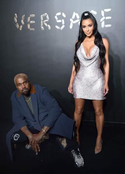 Kanye West et Kim Kardashian au défilé Versace, le 2 décembre 2018, à New York