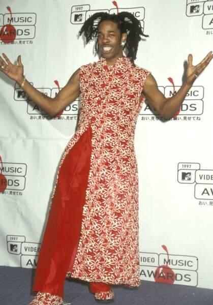 MTV Video Music Awards : Busta Rhymes en 1997, en mode hippie ethnique
