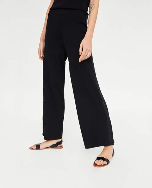 Pantalon large à bandes latérales, Zara, 39,95 euros