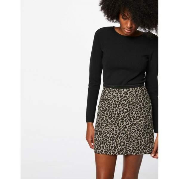 Jupe courte jacquard motif léopard, Morgan sur La Redoute, 55€