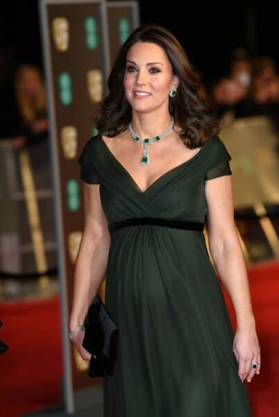 Kate Middleton, en vert et contre toutes, aux BAFTA Film Awards 2018 à Londres, le 18 février