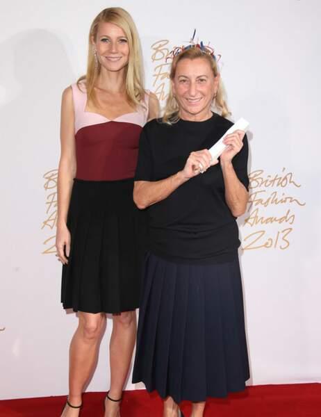 Gwyneth Paltrow et Miuccia Prada, désignée Créatrice internationale de l'année