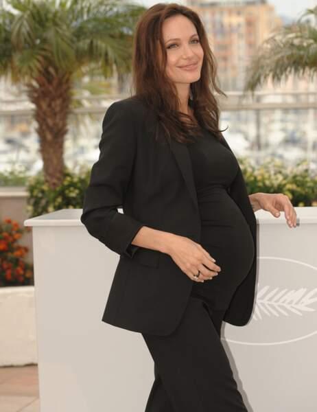 Angelina Jolie le 20 mai 2008 (ses jumeaux Knox et Vivienne sont nés le 12 juillet)