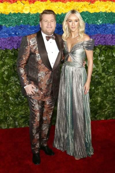 James Corden et sa femme Julia Carey à la 73ème cérémonie des Tony Awards