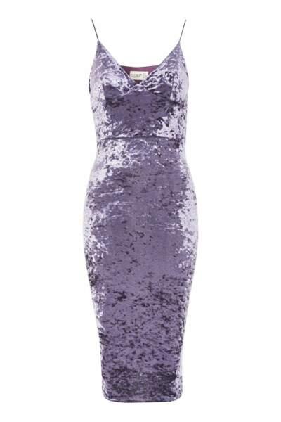 Robe violette en velours froissé, Topshop, 34€