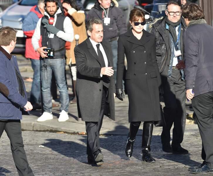 Les politiques présents lors de l'hommage à Johnny Hallyday : Nicolas Sarkozy et Carla Bruni
