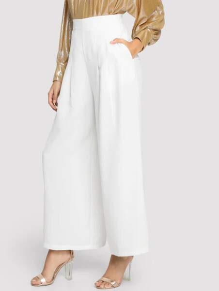 Pantalon ample avec taille haute et poches, Shein, 17€