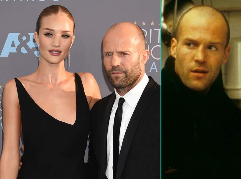 Jason Statham aujourd'hui à 48 ans et à 28 ans, l'âge actuel de sa fiancée Rosie Huntington-Whiteley