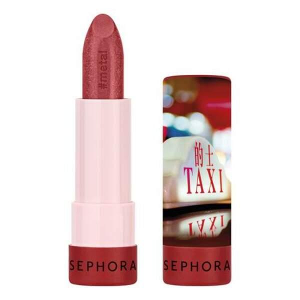 50 façons de briller : Rouge à lèvres #Lipstories effet métallisé, teinte Tokyo, Sephora, 8,95 euros