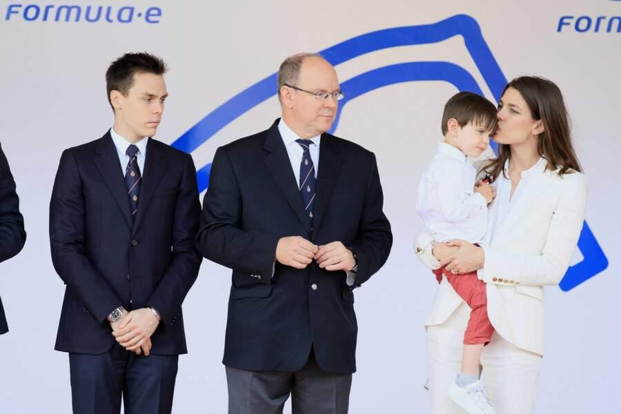 Formule E à Monaco : Louis Ducruet, Prince Albert II de Monaco, Charlotte Casiraghi et son fils Raphaël Elmaleh