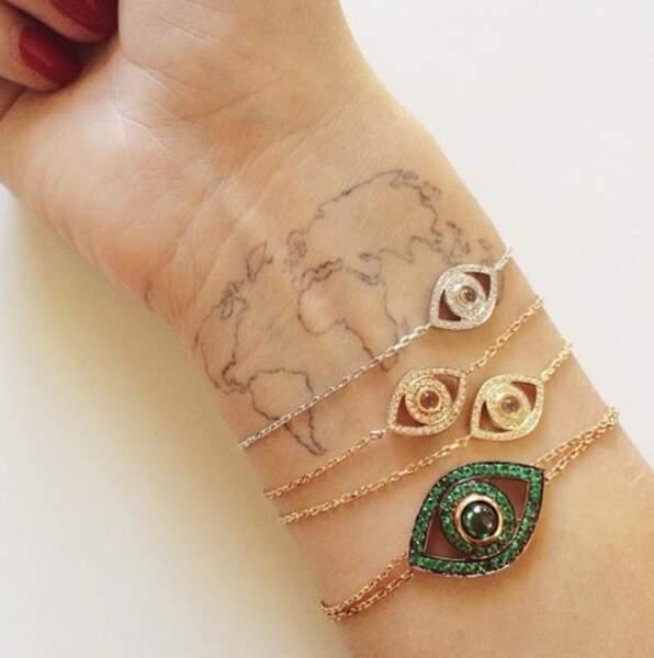 Tatouage poignet : la carte du monde de Chiara Ferragni