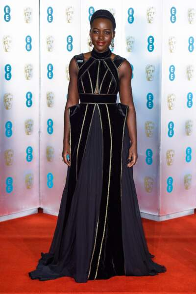Lupita Nyong'o aux BAFTA Film Awards 2018 à Londres, le 18 février