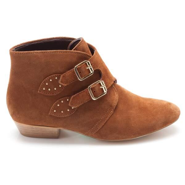 Low boots à boucles camel, 3 Suisses, 99€