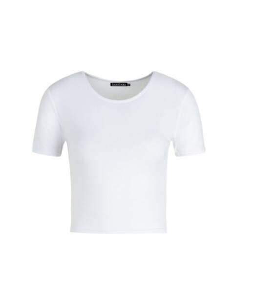 T-shirt crop top, Boohoo, actuellement à 5,40€