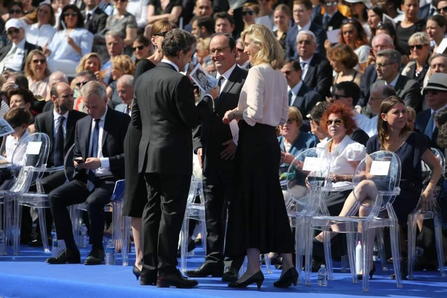 Cérémonie d'entrée de Simone Veil au Panthéon : Nicolas Sarkozy, Carla Bruni, François Hollande et Julie Gayet