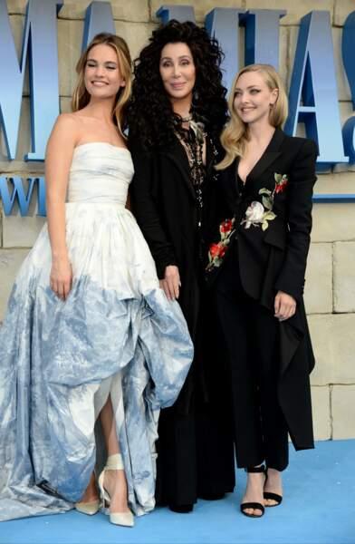 Lily James, Cher et Amanda Seyfried à l'avant-première de Mamma Mia 2 à Londres, le 16 juillet