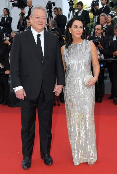 Cannes - Montée des Marches pour le 70ème anniversaire : Al Gore & Elizabeth Keadle