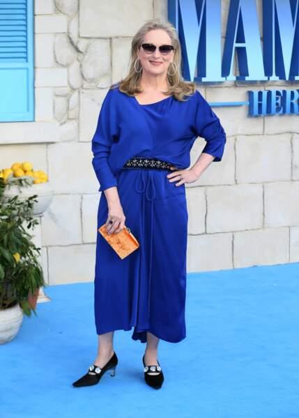 Meryl Streep à l'avant-première de Mamma Mia 2 à Londres, le 16 juillet